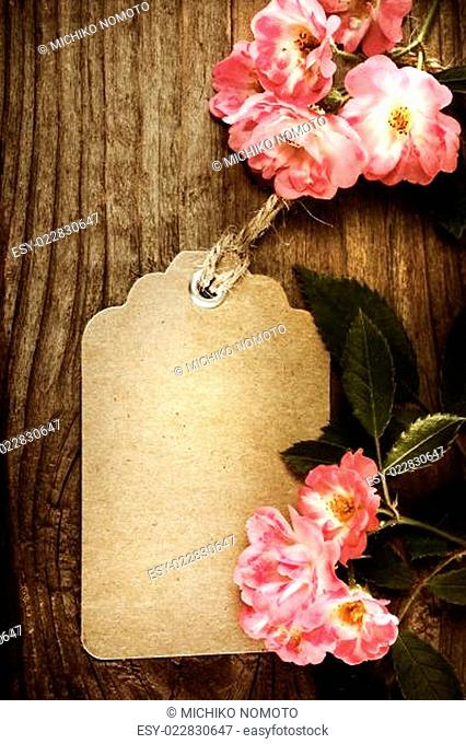 Handmade tag with robin hood roses