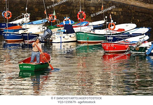 Fishermen at port, Castro Urdiales, Cantabria, Spain