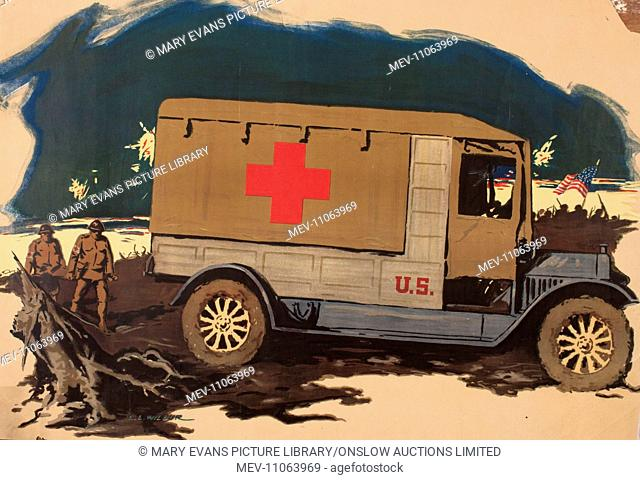 Poster, US Red Cross ambulance on the Western Front