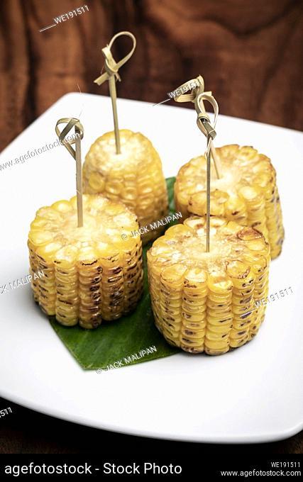 sweet corn on the cob vegetarian tapas snack food