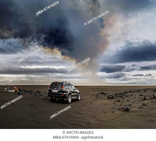 Volcanic Plumes with toxic gases, Holuhraun Fissure Eruption, Iceland. August 29, 2014 a fissure eruption started in Holuhraun at the northern end of a magma...