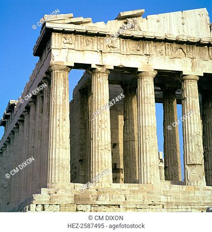 View of the north-west corner of the Parthenon on the Acropolis, 5th century BC