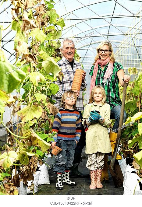 Family in green house