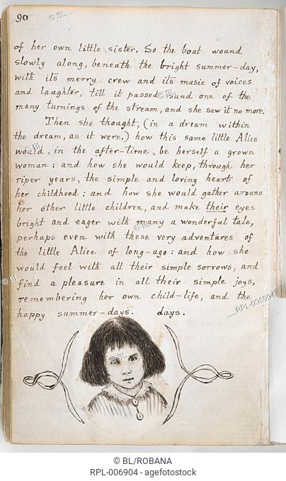 Portrait of Alice Liddell Whole folio Pen-and-ink portrait of Alice Liddell at the end of the manuscript Image taken from Alice's Adventures Under Ground in...