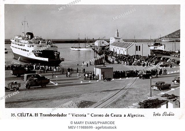Mailboat ferry Victoria at Ceuta (operating between Ceuta and Algeciras), Spanish city in Morocco, North Africa