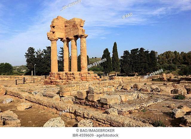 Remains of theTemple of the Dioscuri, Tempio di Dioscuri, ancient city of Akragas, Valley of the Temples, Agrigento, Sicily, Italy