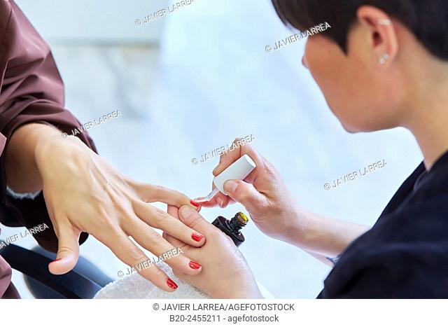 Beautician painting customer's nails. Manicure. Hairdressing salon and Beauty Clinic