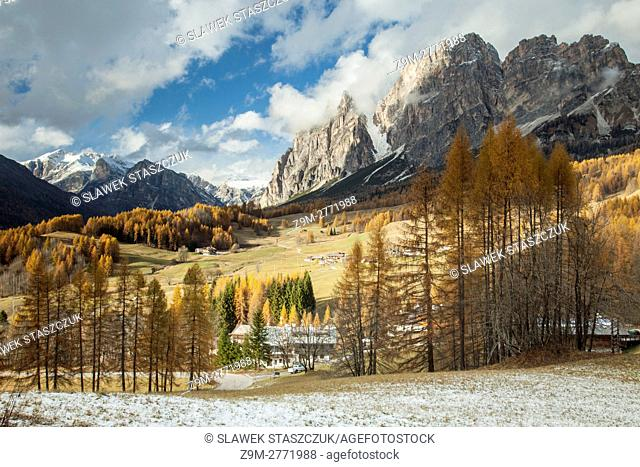 Autumn afternoon in the Dolomites near Cortina d'Ampezzo, Italy