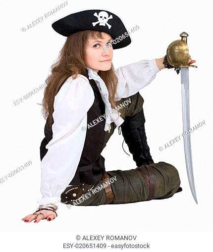 Pirate - young woman with pirate hat and rapier