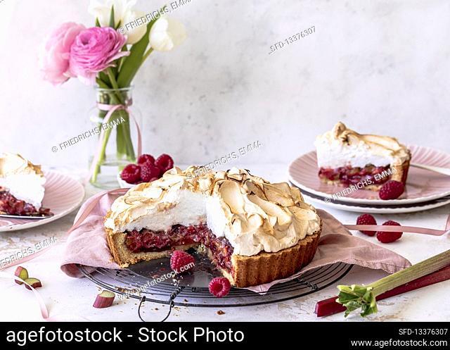 Raspberry and rhubarb tart with meringue