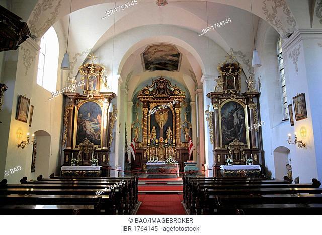 High altar in the monastery church, Kloster Kreuzberg Franciscan monastery, Bischofsheim, Landkreis Rhoen-Grabfeld district, Lower Franconia, Bavaria, Germany