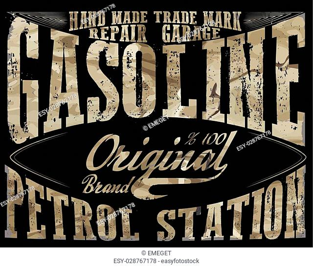 Vintage Gasoline,authentic gas pump vector illustration print. Vintage gasoline retro signs and labels. Gas station