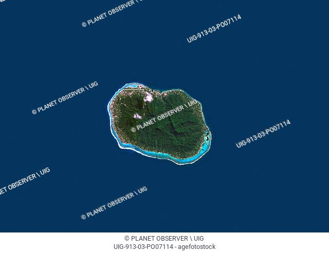 Satellite view of Rarotonga, Cook Islands. This is the most populous island of the Cook Islands. This image was compiled from data acquired by Landsat 8...
