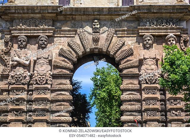 Telamones sculptures of Porta Nuova - monumental gate of historic city walls of Palermo city of Italy, capital of autonomous region of Sicily