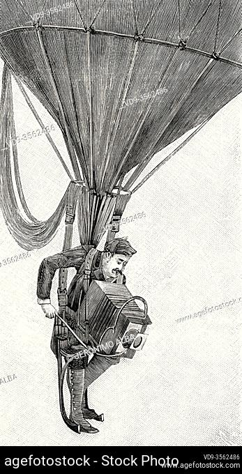19th century aerial photography. Photographer hanging from a hot air balloon with his camera to take photographs. From La Ilustracion Española y Americana 1895