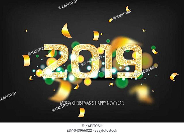 2019 vector magic golden confetti shimmer invintation. Holiday new year dark night background. Sparkle Christmas lights