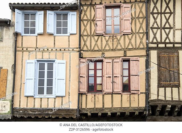 Mirepoix, France - April 8, 2018: Medieval bastide of Mirepoix in Ariège, Midi-Pyrénées region of France. Half-timbered houses dating from the Middle Ages...
