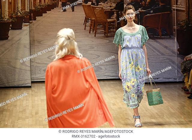 October 16, 2018, Tokyo, Japan - Models wearing fashion brand Yuki Torii International walk down the catwalk during the Amazon Fashion Week TOKYO 2019 S/S...
