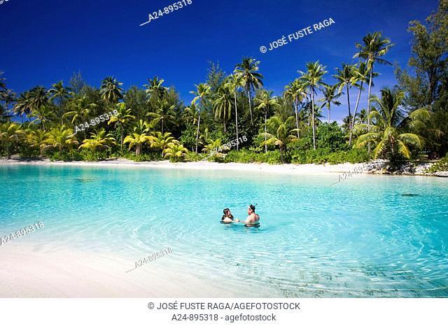 Beach at the InterContinental Resort, Bora Bora island, Society Islands, French Polynesia (May 2009)