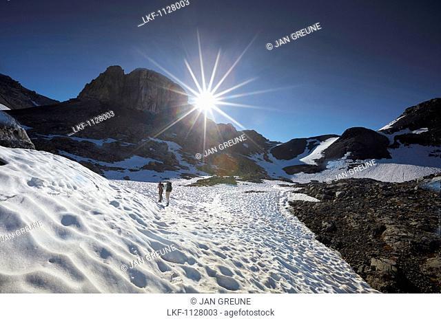 Path to the Piz Cotchen, Sesvenna range between Unterengadin Switzerland and Vinschgau, Italy