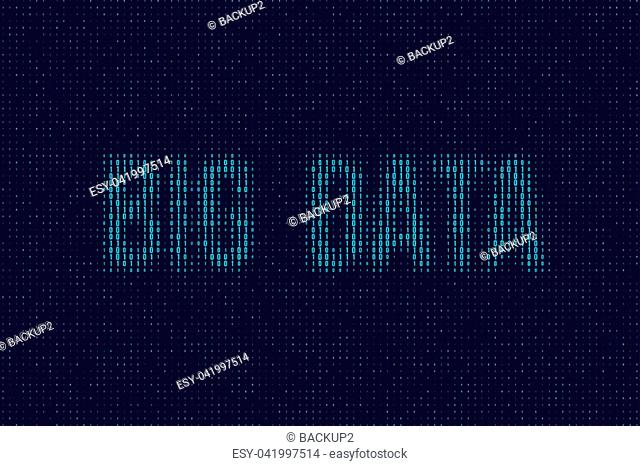 Vector blue dual code background with Big Data words