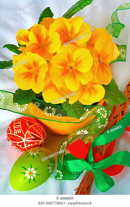 Colorful easter decorations and spring flowers