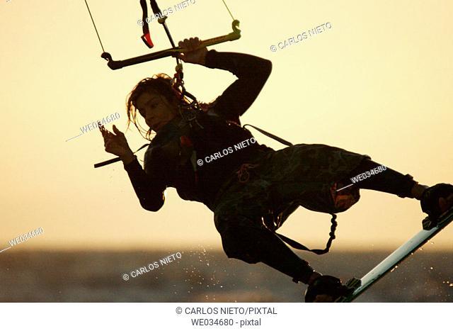 Kitesurfing. Tarifa, Cádiz province, Andalusia, Spain