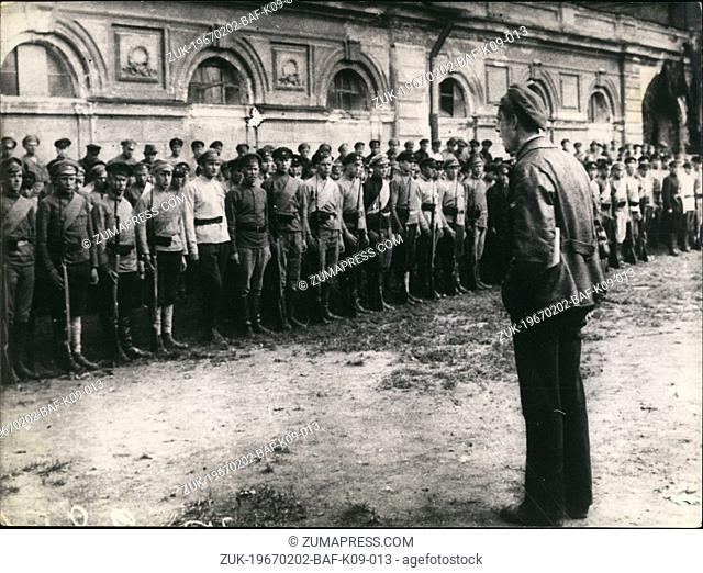 Feb. 02, 1967 - To Note 50th Anniv. of Grt. Oct: Propagandist speaking before the soldiers of the Telegraph-telephone Division. Petrograd, June 1920