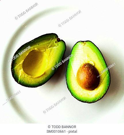 Avocado slice open on plate