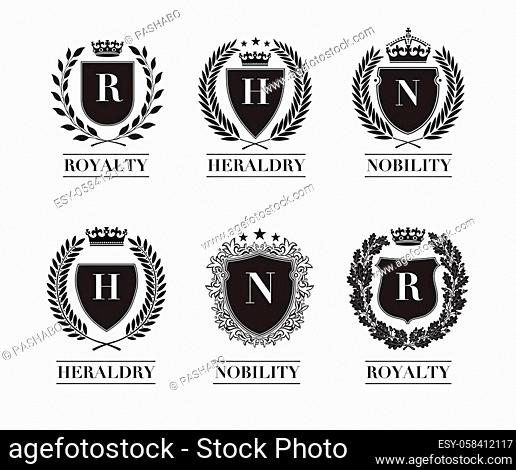 Collection of the Different black and gold silhouette shields, wreaths and crowns depicting an award, achievement, heraldry, nobility