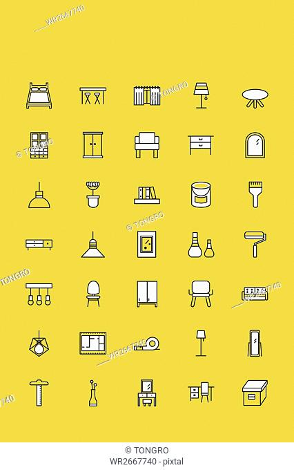 Line icons of various furniture