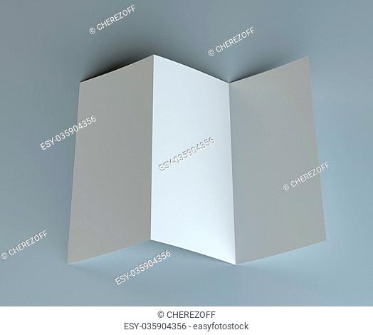 Blank tri fold mock-up flyer on gray background