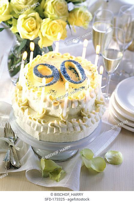 Two-tier cream gateau for 90th birthday (2)