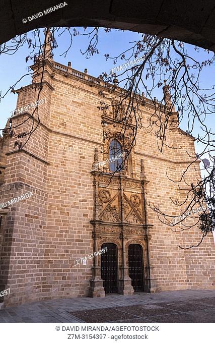 Puerta lateral de la Catedral (Santa María de la Asunción) de Coria. Cáceres. Extremadura. España