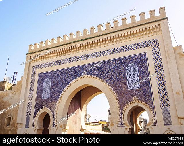 Bab Bou Jeloud Blue Gate to the Old Medina in Fes, Fez-Meknes Region, Morocco