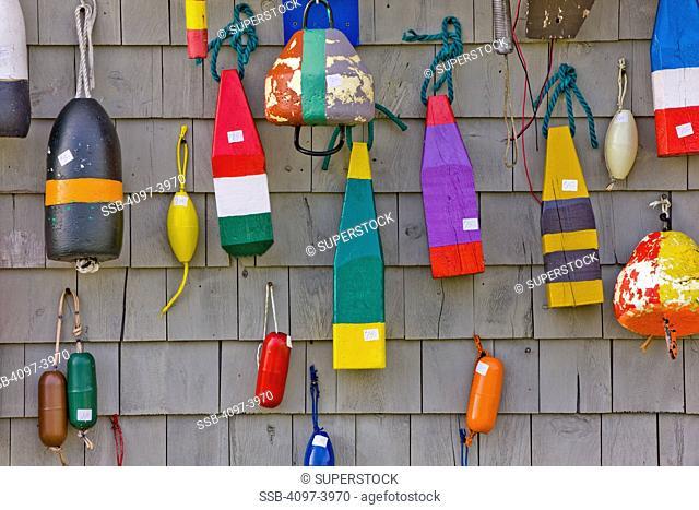 Buoys hanging on a wall, Blue Rocks, Nova Scotia, Canada