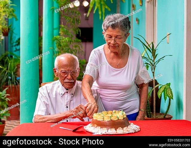 Smiling elderly couple cutting a cake helping each other
