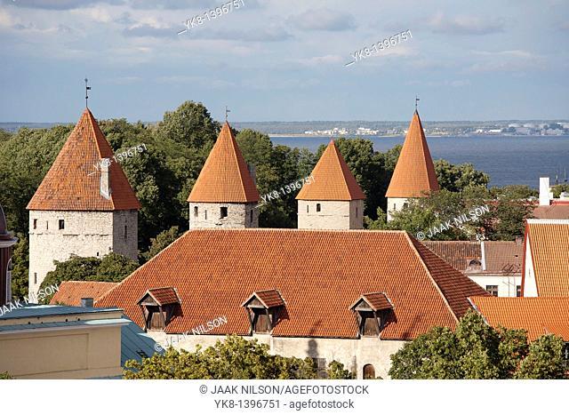 Towers of Old Medieval Tallinn Town Wall and Church From Kohtuotsa Viewing Platform, Estonia