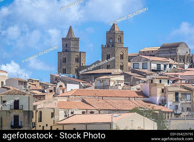 Cathedral on the Old Town of Cefalu city loctaed on the Tyrrhenian coast on Sicily Island, Italy