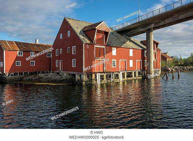 Norway, Old storehouses at harbor