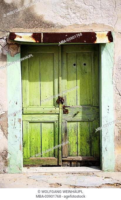 House-wall, detail, wooden door, green, old, to, buildings, house, wall, wall, door, two-winged, closed, bolts, padlock, palace, broken, closed off damaged