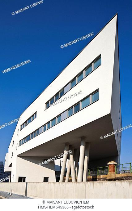 Austria, Vienna, Wohnbau Spittelau, Building complex along the Danube canal designed by Zaha Hadid