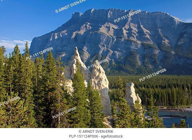 Earth pyramids / Hoodoos in the Bow Valley and Mount Rundle in the Banff National Park, Alberta, Rocky Mountains, Canada
