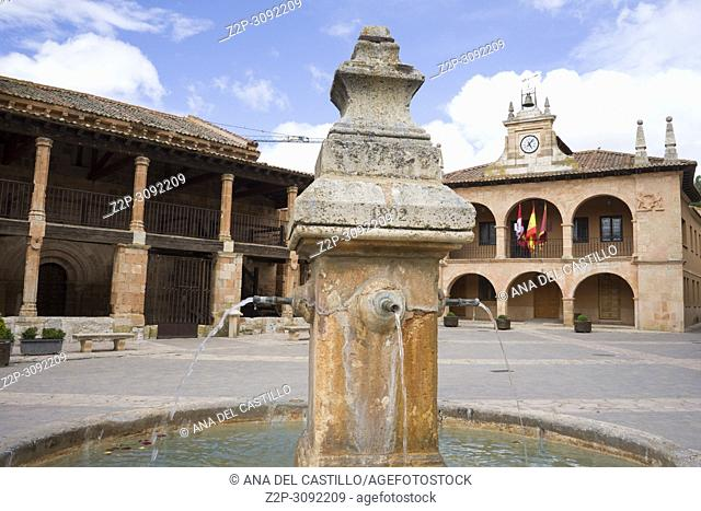 Fountain at Ayllon village Cradle Of The Red Villages Of Segovia Spain. One of the most beautiful villages in Spain