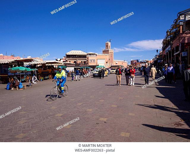 Africa, Morocco, Marrakesch-Tensift-El Haouz, view to Djemaa el Fna