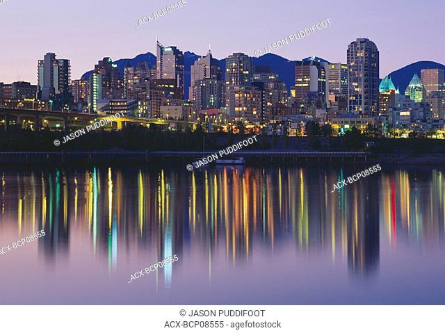 Coal Harbour at night, Vancouver, British Columbia, Canada
