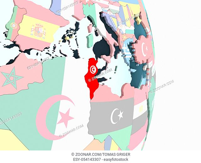 Tunisia on bright political globe with embedded flag. 3D illustration