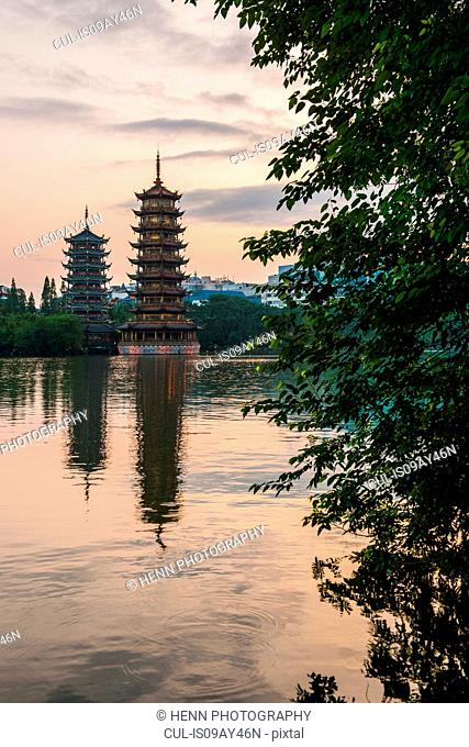 The sun and moon pagodas at Shan lake in Guilin, Guangxi, China