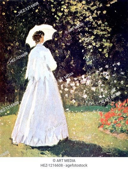 'Woman in the Garden, Sainte Adresse', detail, 1867. Dressed in the fashion of the day, the figure of a lady stands in Le Coteaux estate at Saint Adresse