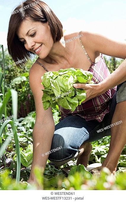 Germany, Bavaria, Woman in garden holding lettuce, smiling, portrait